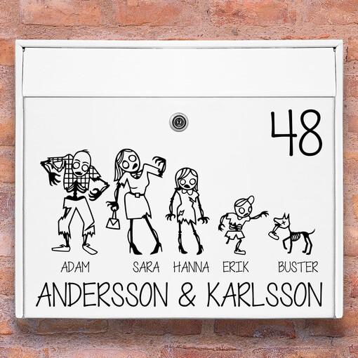 Brevlåda stickers - #1 zombie familj klistermärke för brevlåda