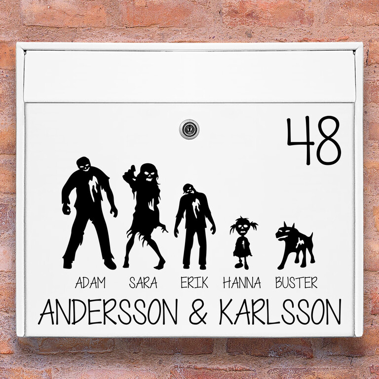 Brevlåda stickers – #2 zombie familj klistermärke för brevlåda