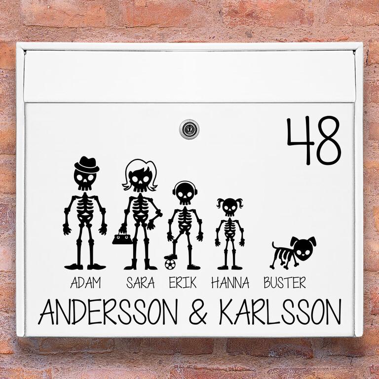 Brevlåda stickers – Skelett familj klistermärke för brevlåda