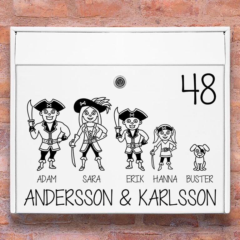 Brevlåda stickers – Pirat familj klistermärke för brevlåda