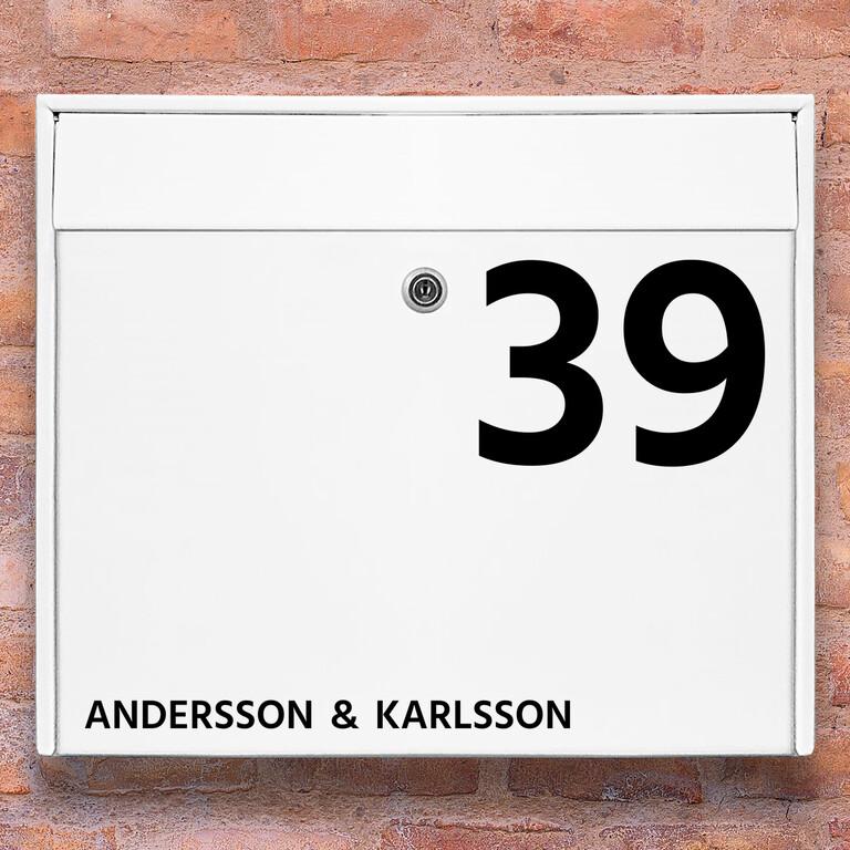 Brevlåda stickers – Stort husnummer med namn klistermärke för brevlåda