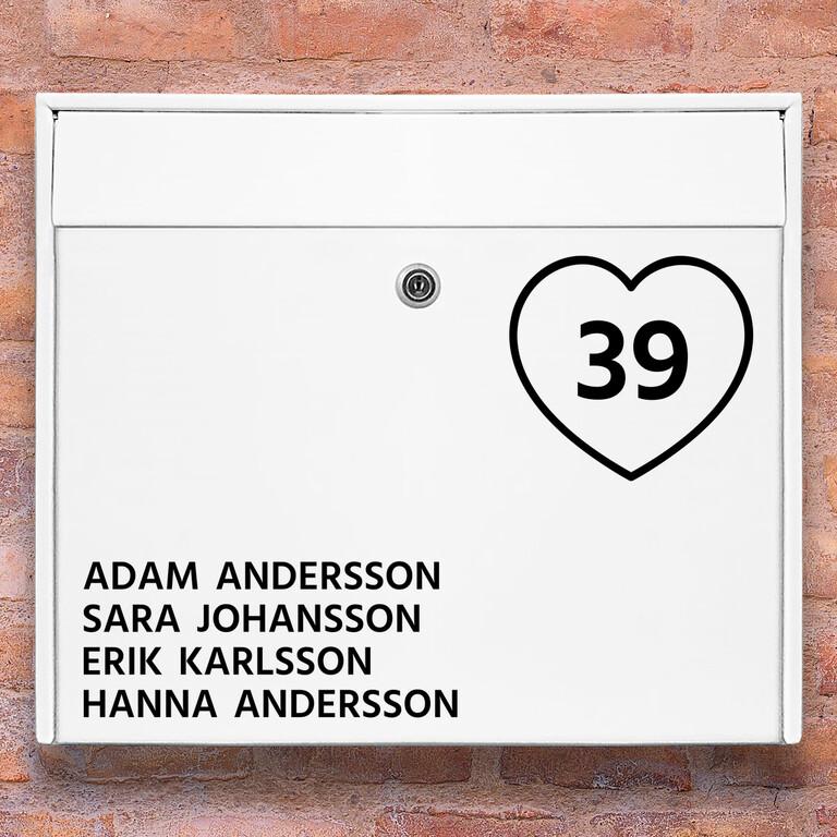 Brevlåda stickers – Hjärta klistermärke för brevlåda