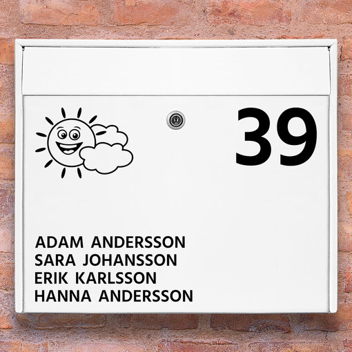 Brevlåda stickers - Sol med moln klistermärke för brevlåda