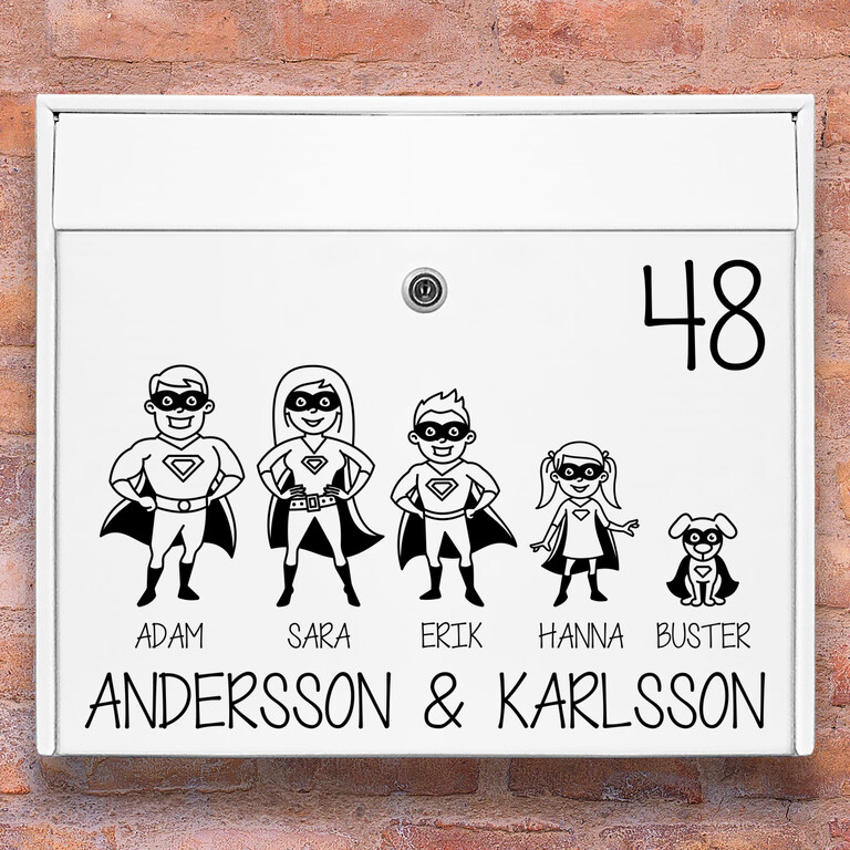 Brevlåda stickers – Superhjälte familj klistermärke för brevlåda