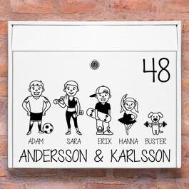 Sport familj - brevlåda stickers