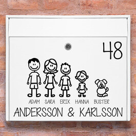 Tändstickor familj - brevlåda stickers